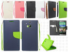 For HTC One M8 Premium Leather 2 Tone Wallet Case Pouch Flip Cover Accessory