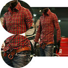 PJ Mens Check Plaid Slim Fit Long Sleeve Casual Simple Shirts Tops S M L XL JS