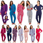 WOMENS Ladies  Plain Hood Zip Up Onesie All In One Jumpsuit Playsuit PYJAMAS