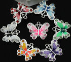 Wholesale 20/50pcs Silver Plated Enamel Rhinestone Crystal Butterfly Charms