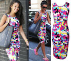 Womens Summer Casual Midi Dress Slim Fit Vest Pencil Bodycon Plus Size S-XXL