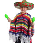 CHILD MEXICAN PONCHO WILD WESTERN BANDIT COSTUME BOYS FANCY DRESS KIDS OUTFIT