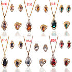 14k Gold Filled In 6 Colors Sapphire New Wedding Necklace Earrings Ring Set