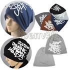 Unisex Letter Double-deck Slouchy Beanie Caps Baggy Beret Hats Printed Punk HOT