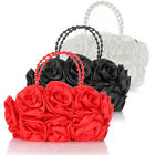 Rose Flower Satin Evening Bridal Party Prom Wedding Clutch Bag Purse Handbag