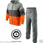 Nike Little Boys Panel Tracksuit FZ Hooded Grey Charcoal Orange 4 to 8 Years Old