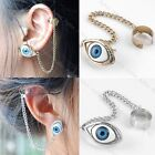 Pick Color Punk Gothic Blue Evil Eye Metal Beads Ear Cuff Clip Chain Tassel Rock