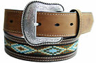 New Nocona Distressed Brown Beaded Leather Western Belt Cowboy