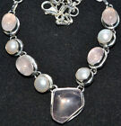 Pink ROSE Quartz + white PEARL 925 Sterling SILVER Necklace BIG Chunky Jewellery