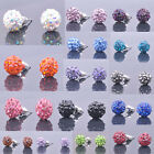Hot Variety Shiny Crystal Pave Disco Clay Ball Beads Steel Stud Earrings Jewelry
