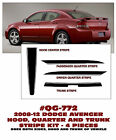 QG-772 2008-12 DODGE AVENGER - HOOD, QUARTER AND TRUNK STRIPE - DECAL KIT
