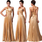 2014 Long Maxi STAIN Pleated Prom Evening Party Cocktail Gown Ball Dress Golden