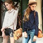 Hot Vintage Womens Polka Dots Print Chiffon Long Sleeve Tops T-Shirt Blouse Dym8