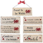 Welsh Wales Themed Hanging Wooden Wall Plaque Sign