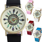 New Feather Print Dial Geneva Watch For Women Dress Quartz Watches,Leather Band