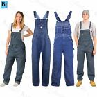 Mens Work Overall Loose Fit Womens Ladies Denim Jeans Pinafore Jumpsuit Dungaree