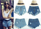 Hot Sell Women High Waisted Punk Denim Vintage Blue Jean Shorts Girl Pants S M L