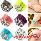 Fashion Resin Film Transparent Crystal Flower Gem Bracelet Bangle Wristband Cuff