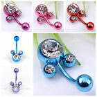 1Pc Stainless Steel Crystal Lovely Mickey Mouse Belly Navel Ring Bar Piercing