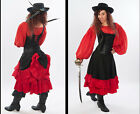 DRESS LIKE A SPANISH PIRATE STEAMPUNK MID LENGTH BUSTLE SKIRT BLACK/RED XS-5X