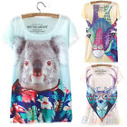 WOMEN VINTAGE TRENDY SHORT SLEEVE ANIMAL GRAPHIC PRINTED T SHIRT TEE BLOUSE TOPS