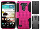 For LG G3 MESH Hybrid Hard Silicone Rubber Skin Case Cover + Screen Protector