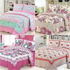 Patchwork Bedspread Set Quilted Coverlet Blanket Throw Rug Queen King Size New
