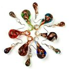 Murano Lampwork Glass Swirl Art Teardrop Hook Earring Pendant For Necklace Set
