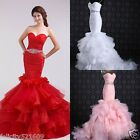Custom Organza Sexy Mermaid Wedding Bridal Dress Fishtail Ball Prom Gown