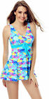 One Piece Padded XLY4019 Blue Heart Swimdress Tankini with Attached Swim Bottom