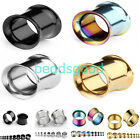 """Pair 8g-5/8"""" Stainless Steel Double Flare Flesh Ear Tunnels Plugs Earlets Gauges"""