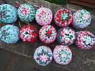 Christmas Tree Decorations Patchwork Baubles - Handmade set of 2 Various Designs