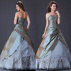 Luxury Taffeta Bridesmaid Wedding Party Ball Gown Bridal Quinceanera Dress