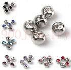 10pc Pick CZ Crystal Ball Cap Fit Belly Navel Lip Nose Bar Ring Body Piercing