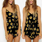 Sexy Vintage Women Straps sunflower Print Jumpsuit Hot Pants Playsuit Shorts