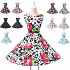 Summer Vintage 50s Flower Retro Pinup Swing Evening Party Short Dress
