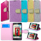 For LG Optimus L70 MS323 Glittering Folio Flip Leather Wallet Case Pouch Stand