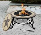 SALTILLO Firepit BBQ Table with Grill and Rain Cover - Optional ICE BOWL