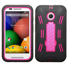 For Motorola Moto E Impact Hard Rubber Case Cover Kick Stand Accessory