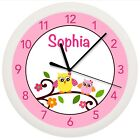 MOD OWL NURSERY WALL CLOCK PERSONALIZED GIFT WALL DECOR ART PINK GIRLS BEDROOM