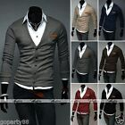 Men Stylish Smart Slim Fit Clipping V-Collar Sweater Knitted Cardigan Asian Size