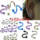 10pc 16ga Stainless Steel Twist Helix Cartilage Eyebrow Ring Earring Bars