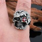 Vintage Stainless Steel Black Silver Tribe Red CZ Eye Skull Cast Biker Mens Ring