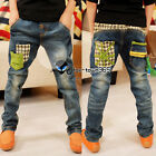 Autumn Spring Boys Baby Child Kids Green Zipper Hole Jeans Trousers Pants 3-8Y