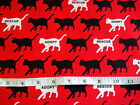 RESCUE ME - WALKING CATS ON RED CAT & DOG FABRIC RANGE 100% COTTON PATCHWORK