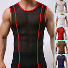 Sexy Muscle Mens Mesh Sleeveless Vest Underwear Summer GYM Tops T-Shirt IN S/M/L