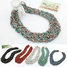 Vintage Bohemia Beads Chain Bib Statement Necklace Choker Chunky Collar Pendants
