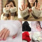 Luxury Ladies Womens Fingerless Gloves Rabbit Fur Knit Mitten Short Wrist Wool