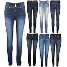 Womens High Waisted Skinny Fit Slim Fitted Ladies Denim Jeans Size 6 8 10 12 14