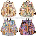 Women fashion Printing Canvas Casual Backpack Shoulder Bag Campus Rucksack